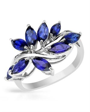 Ladies Sapphire Ring Designed In 10K White Gold