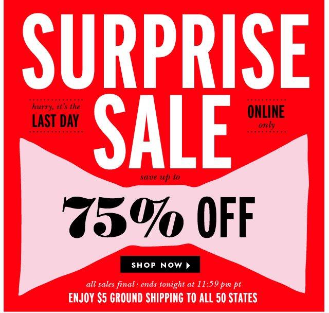 surprise sale.  shop now.