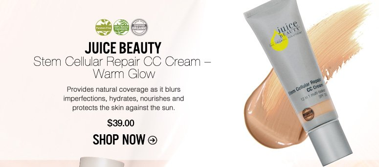 Organic, Paraben-free Juice Beauty Stem Cellular Repair CC Cream – Warm Glow Provides natural coverage as it blurs imperfections, hydrates, nourishes and protects the skin against the sun. $39 Shop Now>>