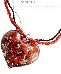 Heart Glass Necklace & Jewelry Gifts From $10
