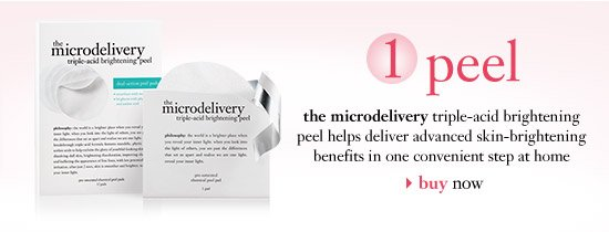 1 peel - the microdelivery triple-acid brightening peel helps deliver advanced skin-brightening benefits in one convenient step at home...