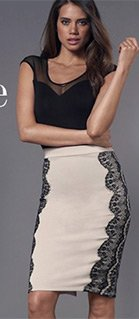 Lace Overlay Ponte Skirt