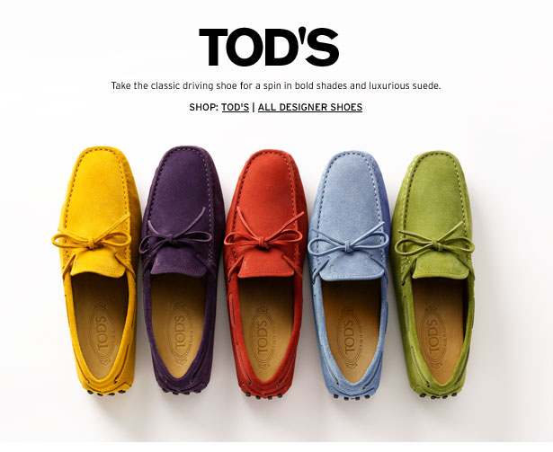 TOD'S - Take the classic driving shoe for a spin in bold shades and luxurious suede.
