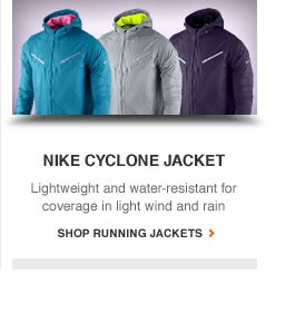 NIKE CYCLONE JACKET | Lightweight and water-reistant for coverage in light wind and rain | SHOP RUNNING JACKETS
