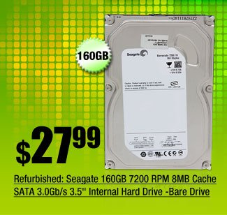 "Refurbished: Seagate 160GB 7200 RPM 8MB Cache SATA 3.0Gb/s 3.5"" Internal Hard Drive -Bare Drive"