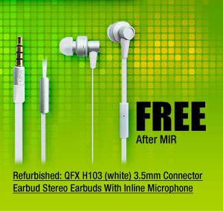 Refurbished: QFX H103 (white) 3.5mm Connector Earbud Stereo Earbuds With Inline Microphone