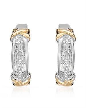 Ladies Earrings Designed In 925 Two Tone Sterling Silver