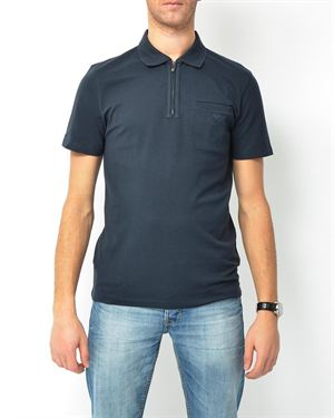 Versace Open Pocket & Logo Detail Solid Color Polo Shirt