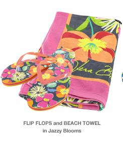 Flip Flops and Beach Towel in Jazzy Blooms