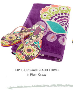 Flip Flops and Beach Towel in Plum Crazy