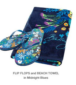 Flip Flops and Beach Towel in Midnight Blues
