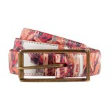 Paul Smith Belts - Red Cut Up Floral Print Classic Suit Belt