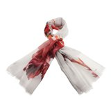 Paul Smith Scarves - Red Cut Up Rose Print Scarf