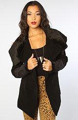 The Iren Faux Suede Shearling Coat in Black