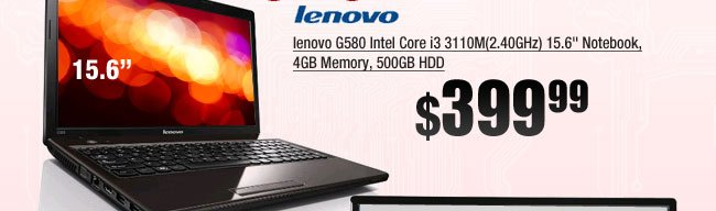 lenovo G580 Intel Core i3 3110M(2.40GHz) 15.6 inch Notebook, 4GB Memory, 500GB HDD