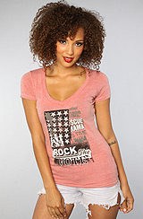 The Rock The Vote Poster Deep V Neck Tee in Tribal Red (Exclusive)