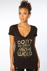 The Don't Do Drugs Deep V-Neck Tee in Black