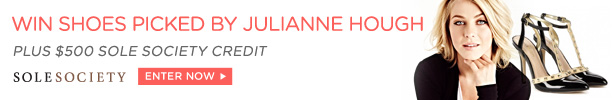 Win shoes picked by Julianne Hough plus $500 Sole Society Credit, Enter Now