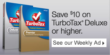 Save  $10 on TurboTax® Deluxe or higher. See our Weekly Ad.