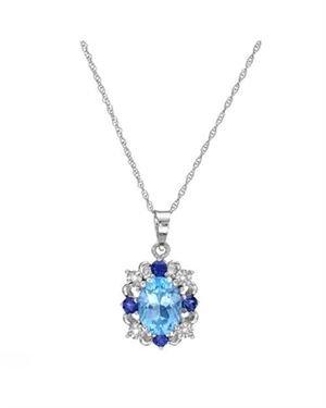 Ladies Topaz Necklace Designed In 10K White Gold $89