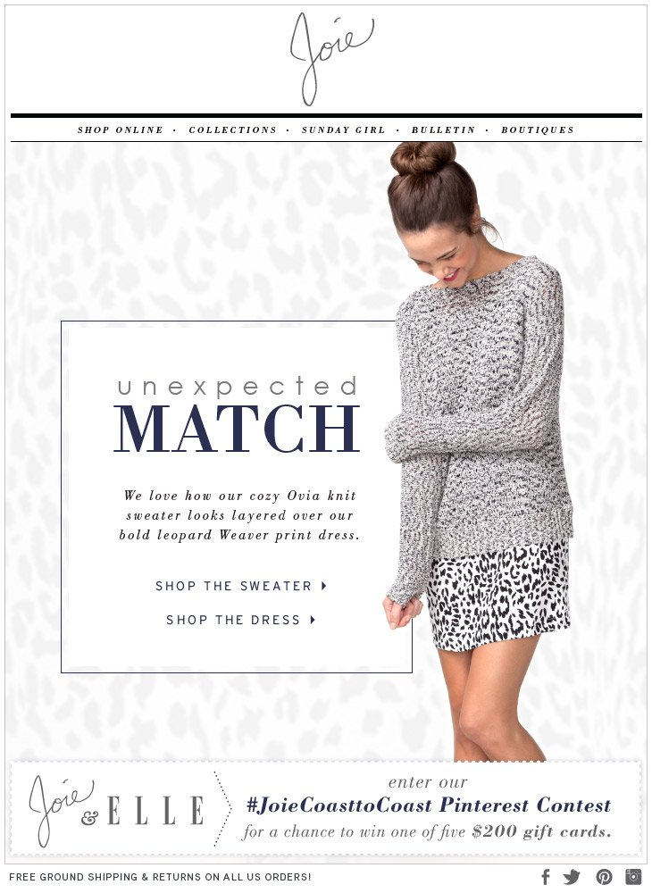 unexpected MATCH We love how our cozy Ovia knit sweater looks layered over our bold leopard Weaver print dress.