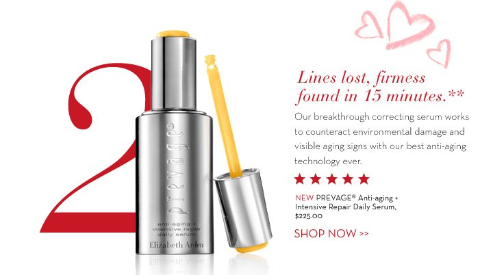 2: Lines lost, firmess found in 15 minutes.** Our breakthrough correcting serum works to counteract environmental damage  and visible aging signs with our best anti-aging technology ever. NEW PREVAGE® Anti-aging + Intensive Repair Daily Serum, $225.00. SHOP NOW.