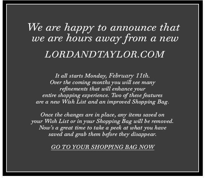 Go to your shopping bag before our website launch