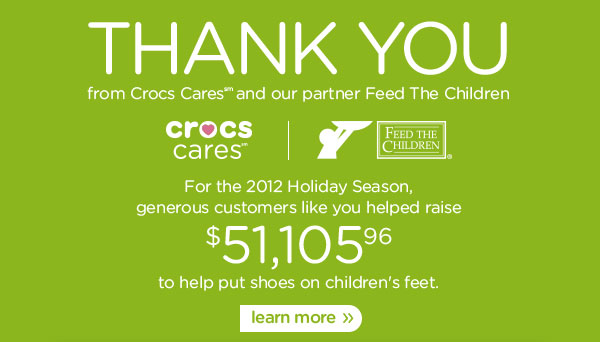 Thank You - For the 2012 Holiday Season, generous customers like you helped raise $51,105.96 to help put shoes on children's feet. learn more