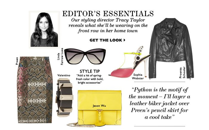 EDITOR'S ESSENTIALS – Our Styling Director Tracy Taylor reveals what she'll be wearing on the front row in her home town GET THE LOOK