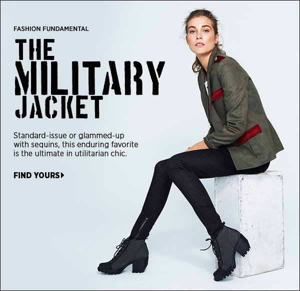 Standard-issue or glammed-up with sequins, the military jacket is the ultimate in utilitarian chic. Shop the season's standouts in our curated collection. Shop military jackets >>