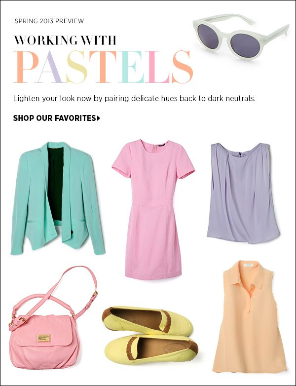 Pair spring's delicate hues back to season-appropriate dark neutrals for a look that's light, but not too sweet. Shop the new pastels >>
