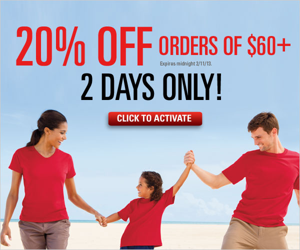 20% off orders of $60+