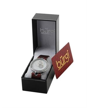 Brand New BURGI Swiss Movement Diamond Synthetic Leather Watch $99