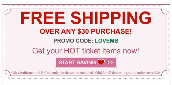 Complimentary Shipping for orders over $30. Get more when you pay less.