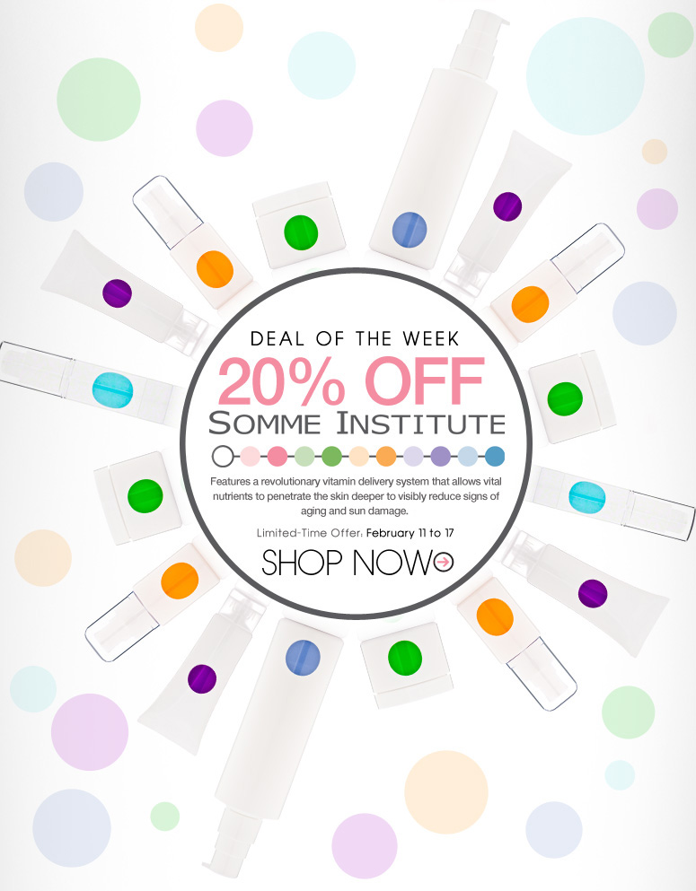 20% Off Somme Institute Features a revolutionary vitamin delivery system to allow vital nutrients to penetrate the skin more effectively and significantly repair visible signs of aging and sun damage. Limited-Time Offer: February 11 to 17 Shop Now>>