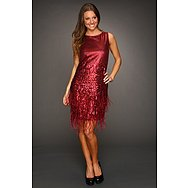 Jessica Simpson Sleeveless Feather and Sequin Dress