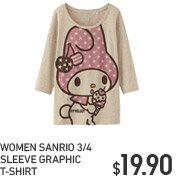 WOMEN SANRIO 3/4 SLEEVE GRAPHIC T-SHIRT