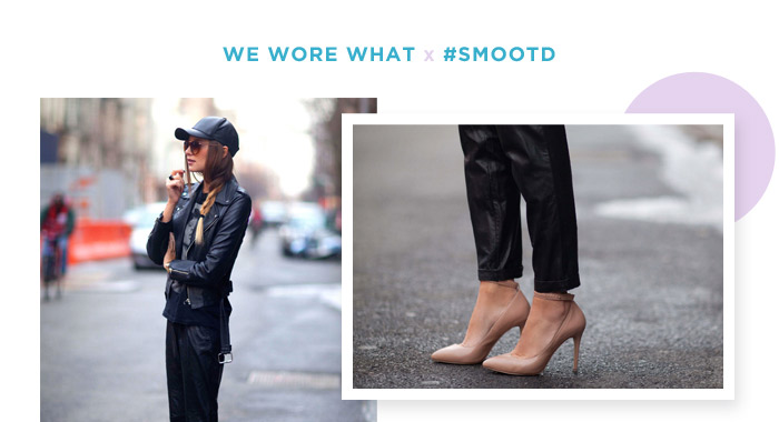 Danielle Bernstein of We Wore What dons head-to-toe leather from her baseball cap to nude LEVERAGE pumps.
