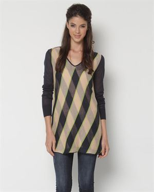 Shae Three-Color Striped Sweater $65