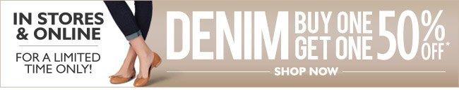 In Stores & Online - Denim Event: Buy 1, Get 1 50% Off