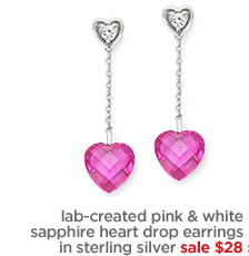 lab-created pink & white sapphire heart drop earrings in  sterling silver sale $28›