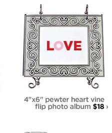 "4""x6"" pewter heart vine flip photo album $18›"