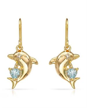 Ladies Topaz Earrings Designed In Yellow Gold Plated Silver