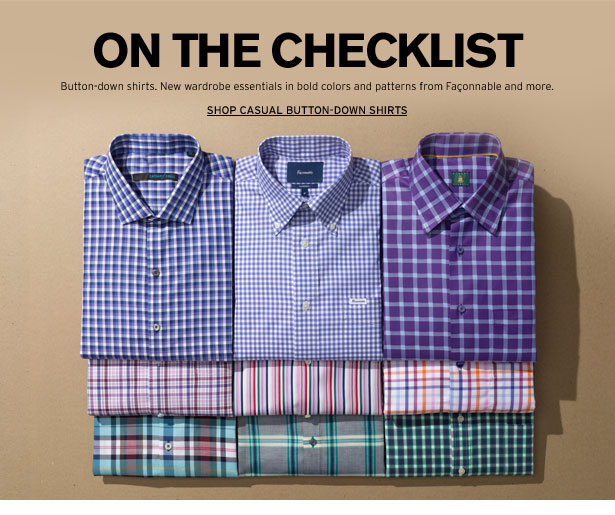 ON THE CHECKLIST - Button-down shirts. New wardrobe essentials in bold colors and patterns from Façonnable and more.