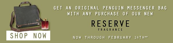 MESSENGER BAG WITH PURCHASE OF RESERVE FRAGRANCE