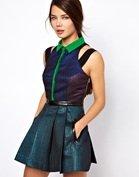 Three Floor Glitterati Dress With Collar Detail