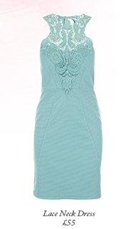 Lace Neck Cutaway Shoulder Dress