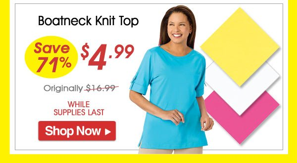 Boatneck Knit Top - Save 71% - Now Only $4.99 Limited Time Offer