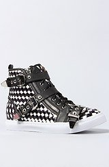 The Buckled Adams Sneaker in Black White and Silver Combo