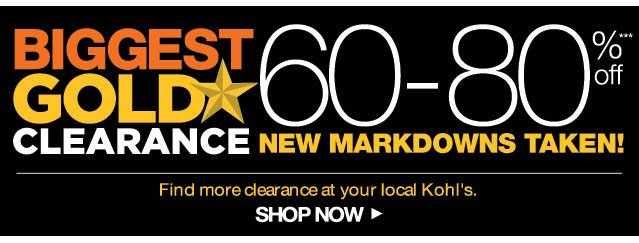 Biggest Gold Star Clearance 60-80% off. New markdowns taken. Find more clearance at your local Kohl's. Shop now.
